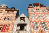 Row Of Old Multicolored Timber-framed Houses In Historic City Center Of Rouen, France poster