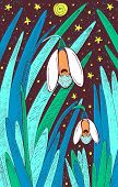 Snowdrop - Floral Illustration. Colorful Plant Drawing. Graphic Psychedelic Multicolored Line Art. V poster