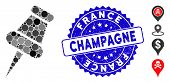 Collage Pin Icon And Rubber Stamp Watermark With France Champagne Text. Mosaic Vector Is Designed Wi poster