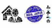 Mosaic Realtor Icon And Corroded Stamp Watermark With India, Jaipur Phrase. Mosaic Vector Is Designe poster