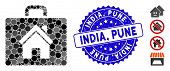 Mosaic Realty Case Icon And Rubber Stamp Watermark With India, Pune Caption. Mosaic Vector Is Formed poster