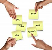 Cropped Of Afro People Hands Holding Stickers With Cooperation Ideas, Cooperation And Collaboration  poster
