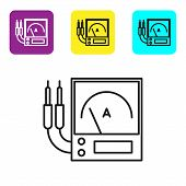 Black Line Ampere Meter, Multimeter, Voltmeter Icon Isolated On White Background. Instruments For Me poster