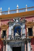 Statues Above The Entrance To The Episcopal Palace In Obispo Square, Malaga, Malaga Province, Andalu poster
