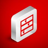 Isometric Line Shelf Icon Isolated On Red Background. Shelves Sign. Silver Square Button. Vector Ill poster