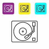 Black Line Vinyl Player With A Vinyl Disk Icon Isolated On White Background. Set Icons Colorful Squa poster