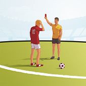 Soccer Referee Showing Red Card Flat Vector Illustration. Football Judge, Arbitrator Cartoon Charact poster