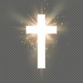 Shining White Cross Effect On Transparent Background. Shining Saint Cross. Riligious Symbol. Easter  poster