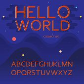 Alphabet Letters, Cosmic Concept. Cosmos Cartoon Font For Typography. Modern Typographic Red Orange  poster