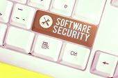 Writing Note Showing Software Security. Business Photo Showcasing Implemented To Protect Software Ag poster