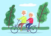 Elderly Couple Riding Twin Or Tandem Bicycle In Forest Or Lawn. Grandfather And Grandmother Spend Ti poster