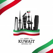 Vector Illustration On The Theme National Day Kuwait. National Landmarks Kuwait. National Flag. poster