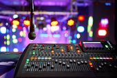 Dj Work At A Nightclub, Music Club Party, Concert Equipment, A Mixer And Dj Console. The Concept Of  poster