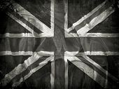 Grunge Union Jack flag background with splats, stains and creases