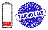 Mosaic Low Battery Level Icon And Distressed Stamp Watermark With Tilicho Lake Phrase. Mosaic Vector poster