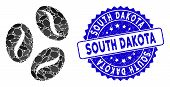 Mosaic Cocoa Beans Icon And Grunge Stamp Seal With South Dakota Phrase. Mosaic Vector Is Designed Wi poster