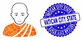 Mosaic Buddhist Monk Icon And Distressed Stamp Watermark With Vatican City State Text. Mosaic Vector poster