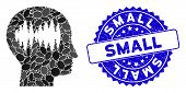 Mosaic Brain Waves Icon And Rubber Stamp Seal With Small Phrase. Mosaic Vector Is Composed With Brai poster