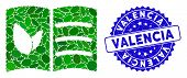 Mosaic Vegan Menu Icon And Rubber Stamp Seal With Valencia Phrase. Mosaic Vector Is Composed With Ve poster