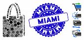 Mosaic Shopping Bag Icon And Distressed Stamp Watermark With Miami Phrase. Mosaic Vector Is Composed poster