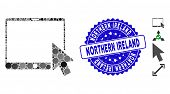 Mosaic Tablet Arrow Pointer Icon And Rubber Stamp Watermark With Northern Ireland Text. Mosaic Vecto poster