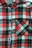 Plaid Shirt Vertical Close Up View. Tartan Check Pattern, Casual Stylish Shirt. Red, Grey, Black And poster