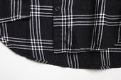 Stylish Black Plaid Shirt, Tartan Casual Shirt On White Background. Bottom Part Of Simple Black And  poster