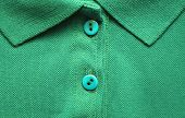 Polo Shirt Close Up Of Light Green Colour. Casual Summer Season Top With Simple Design, Buttoned Up  poster