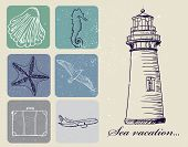 stock photo of echinoderms  - Vintage set of sea travel icons - JPG