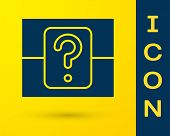 Blue Mystery Box Or Random Loot Box For Games Icon Isolated On Yellow Background. Question Box. Vect poster