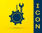 Blue Wrench And Screwdriver In Gear Icon Isolated On Yellow Background. Adjusting, Service, Setting, poster