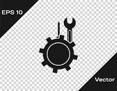 Grey Wrench And Screwdriver In Gear Icon Isolated On Transparent Background. Adjusting, Service, Set poster