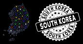 Bright Mesh South Korea Map With Lightspot Effect, And Seal. Wire Frame Triangular South Korea Map M poster