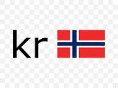 Norwegian Krone, Flag Icon. Vector Illustration, Flat Design poster
