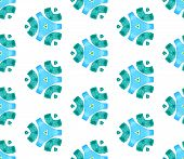 Blue Green Vintage Kaleidoscope Seamless Pattern. Hand Drawn Watercolor Ornament. Superb Repeating T poster