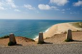 Portugal, Nazare In Summer, Coastline Landscape Of The Atlantic Ocean In Summer, Clean Wide Beaches  poster