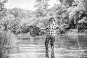 F For Fishing. Hobby And Sport Activity. Pothunter. Fisherman With Fishing Rod. Mature Man Fly Fishi poster