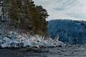 Russia. South Of Western Siberia, Altai Mountains. Late Autumn On The Coast Of Lake Teletskoye In Th poster