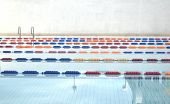 stock photo of swim meet  - Image of empty swimming pool competition lanes  - JPG