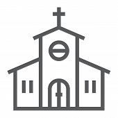 Church Line Icon, Religion And Prayer, Religion Building Sign, Vector Graphics, A Linear Pattern On  poster