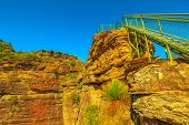 Stairway Leading Up To Pulpit Rock Lookout Famous Landmark In Blue Mountains National Park, New Sout poster