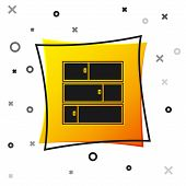 Black Shelf Icon Isolated On White Background. Shelves Sign. Yellow Square Button. Vector Illustrati poster