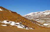 Natural Red Mountains In Kyzyl-chin Valley, Also Called As Mars Valley With Blue Sky. Altai, Siberia poster