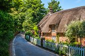 Dorset Cottage With A Thatched Roof In Summer. Next To A Road With A White Fence poster