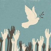 picture of heartwarming  - Group of hands and dove of peace - JPG