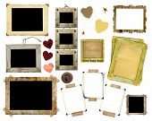 stock photo of nail-design  - A set of vintage photo frames on a white background - JPG