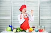 Try Delicious Meal. Healthy Ration. Woman Professional Chef Hold Spoon. Dieting Concept. Healthy Veg poster