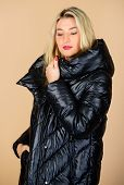 Gorgeous Fashionable Blonde. Girl Enjoy Wearing Bright Jacket With Hood. Warm Coat. Comfortable Down poster