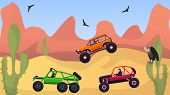 Racing Rally Cars Off Road In Desert Vector Illustration. Group Of Drivers In Suvs Vehicles At Extre poster