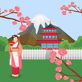 Japan Symbols Landmarks Vector Illustration. Traditional Japanese Asian Character Geisha Woman In Tr poster